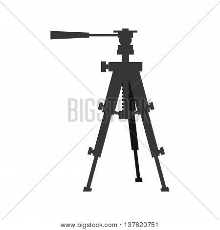 Gadget concept represented by silhouette of camera tripod icon. Isolated and flat illustration