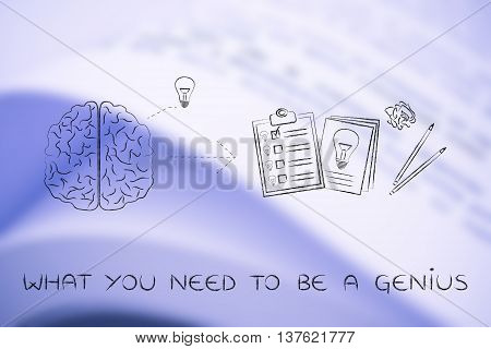 Brain With Idea To Write Down On Paper, What You Need To Be A Genius