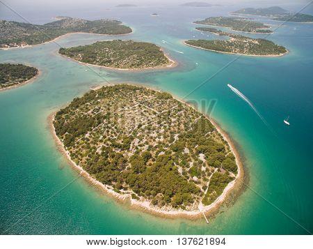Aerial photo of Adriatic sea in Croatia