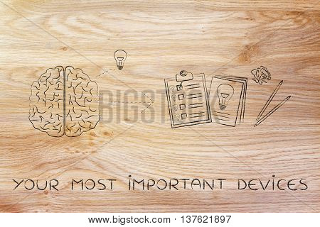 Brain With Idea To Write Down On Paper, Your Most Important Devices