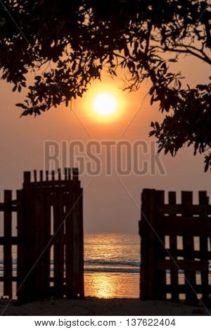 Nature Scenery With Sunset On Summer Beach Coast