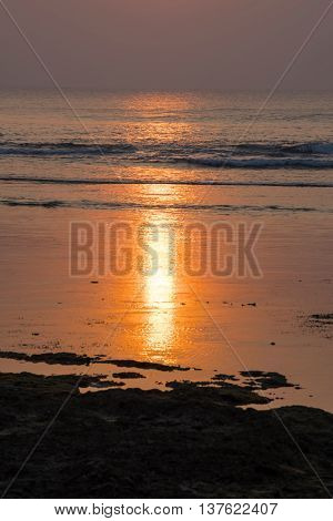 Golden Sunset On Summer Beach Coast Landscape