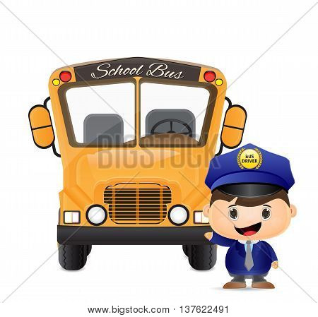 nice and clean iluustration of school bus and bus driver