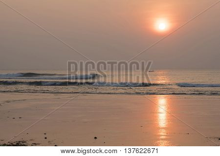 Summer Sunset Landscape On Beach Coast