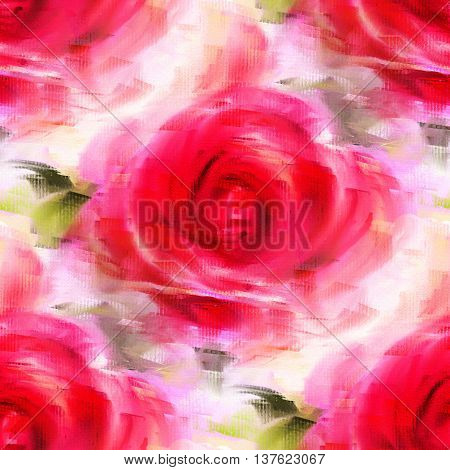 Colorful background with red roses acrylic painting. Seamless pattern. Hand-drawn illustration.