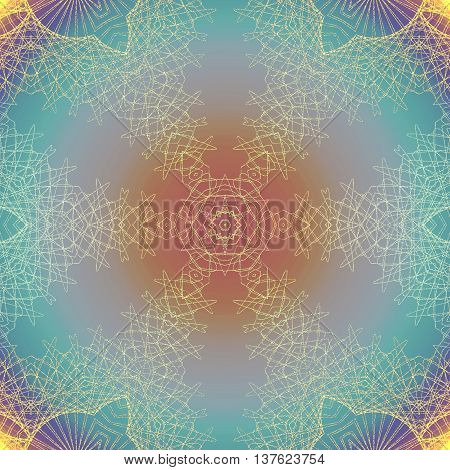 Abstract geometric seamless multicolored background. Delicate round ornament orange, purple and turquoise with yellow outlines.