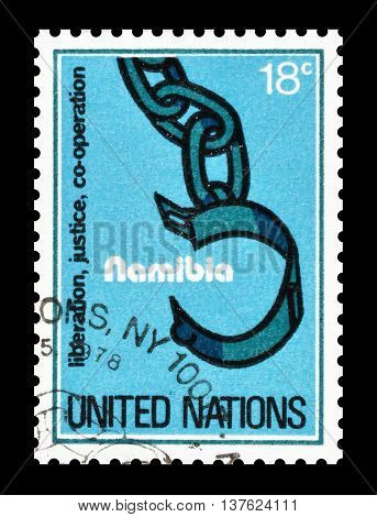 UNITED NATIONS - CIRCA 1978 : Cancelled postage stamp printed by United Nations, dedicated to Namibia.