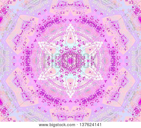 Abstract geometric seamless background. Centered round star ornament violet, magenta, purple, beige, pink and aquamarine, delicate and extensive.