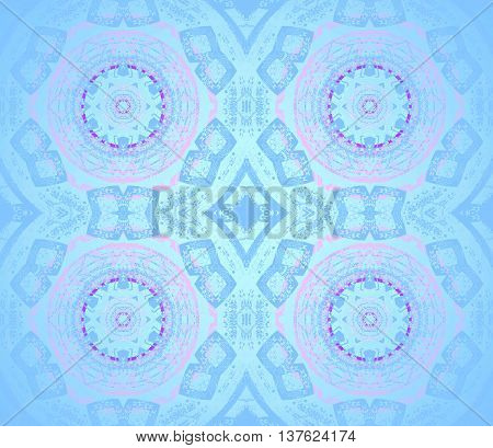 Abstract geometric background. Delicate and shiny concentric circles and diamond pattern in pink, light blue and blue gray shades with purple elements.