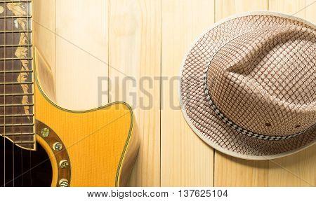 Summer Musician equipment Guitar with cow boy hat