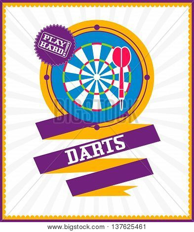 Sports games. Sport icon. Colorful Darts poster