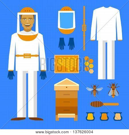 Beekeeping set. Men beekeeper costume. Bee, honey bee house honeycomb