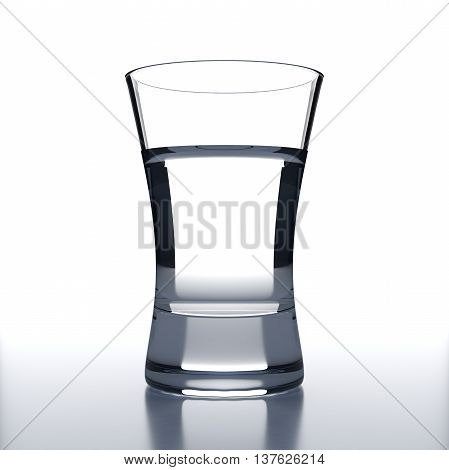 Vodka Glass with vodka shot. White background. Alcoholic cocktail glassware. 3D illustration.