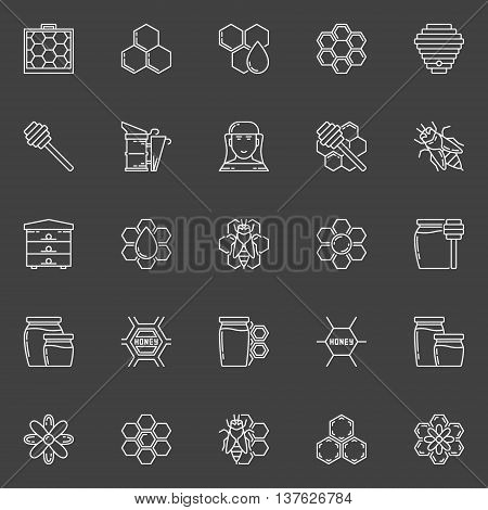 Apiary linear icons. Vector set of honey, bee, bee house, honeycomb outline signs on dark background