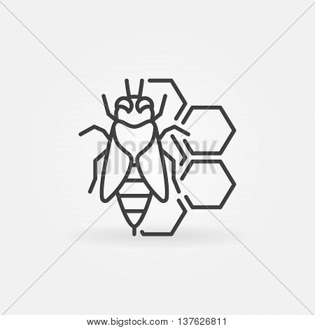 Bee and honeycomb concept icon. Vector honeybee thin line symbol. Beekeeping and apiary logo element