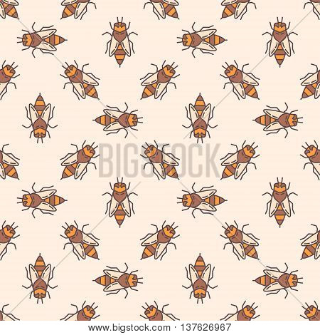Bees seamless pattern. Vector seamless texture made with colorful honey bees. Honey bee background