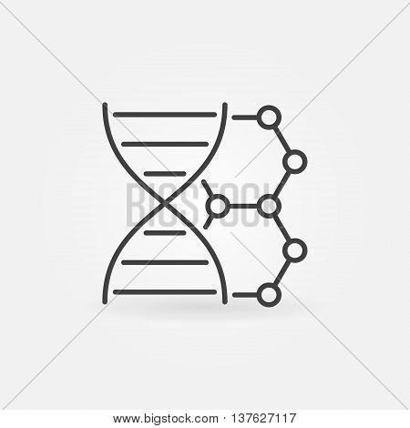 DNA vector linear icon. Thin line dna with molecule sign or logo element. Biotechnology minimal symbol