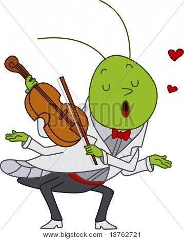 Illustration of a Grasshopper Playing the Violin