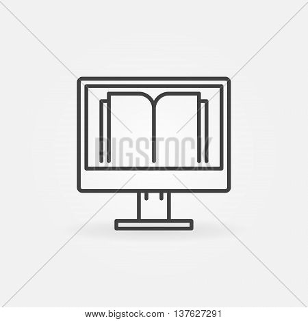 Online education icon. Vector PC with book sign in thin line style. E-learning or e-reading concept outline symbol