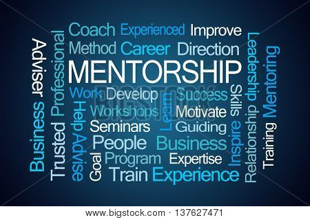 Mentorship Word Cloud on Blue Background