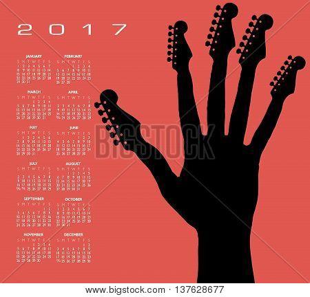 2017 guitar hand calendar for print or web use