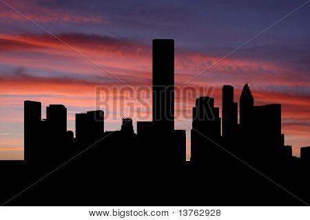 Skyline de Houston ao pôr do sol com ilustração de lindo céu