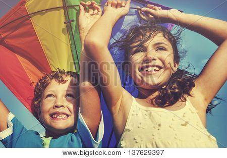 Kite Beach Playful Summer Flying Concept
