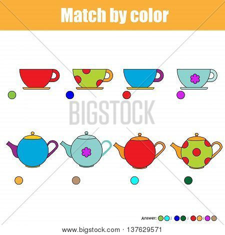 Matching pairs game for kids. Find the right pair for each cup and kettle, children educational game