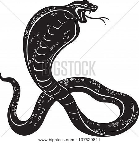 Vector illustration of a Cobra snake, black and white style
