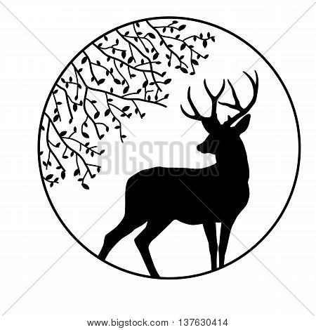 black silhouette vector illustration deer circle tree