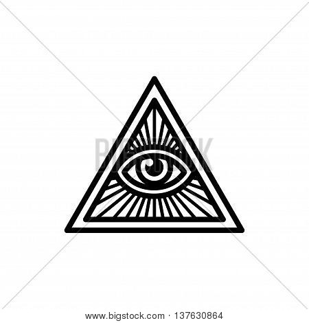 Masonic symbol All Seeing Eye inside triangle with beams. Isolated vector illustration geometric line icon.