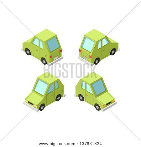 Vector isometric icon set or infographic element set representing private cars cartoon hatchback car with front and rear views.