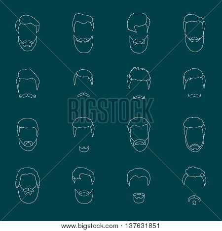 Mans hair set of beards and mustaches vector. Hipster style fashion beards and hair isolated illustration. Peoples hairstyle icon, collection of beards and mustaches for barbershop.Mans trendy haircut types for barber shop. Isolated collection of mans bea