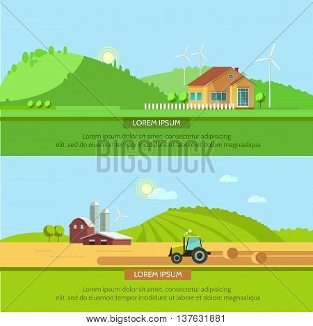Set vector illustration ecotourism flat style. Rural landscapes with fields and hills. Tractor in the field harvests. Eco travel concept