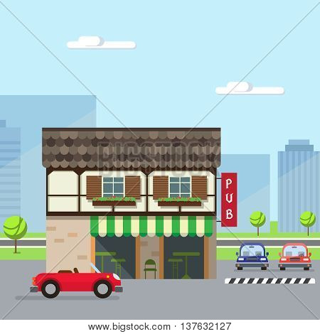 Stock vector illustration city street with beer pub or restaurant pub in flat style element for infographic website icon games motion design video