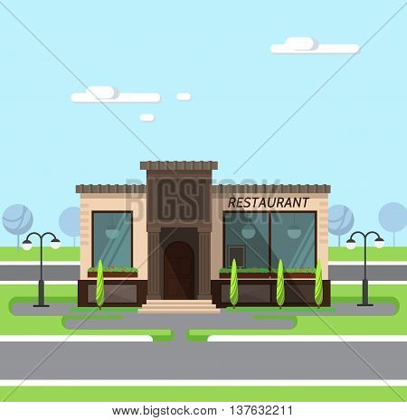 Stock vector illustration city street with restaurant flat style element for infographic website icon games motion design video