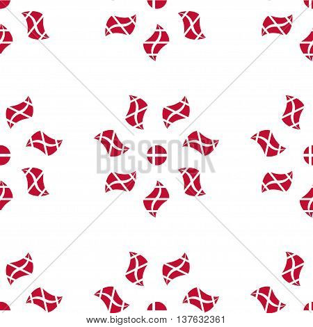Seamless pattern of stylized flowers in the colors of the Danish flag. Constitution or National Day flat seamless pattern. Happy Constitution day of Denmark background.