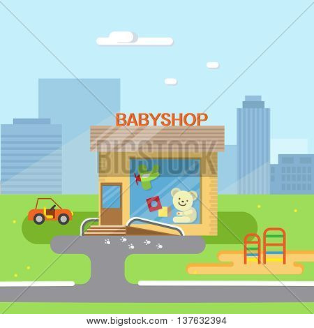 City background with shop building street. Vector flat illustration of city streets with toy shop