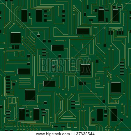 Circuit board seamless pattern. Abstract vector illustration of electric circuit board
