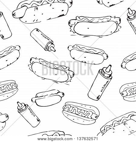 Hot Dog hand drawn seamless pattern. Fast food design element. Seamless texture from sketches of hotdogs with sauce mayonnaise and vegetables. EPS8 vector illustration with pattern swatch included.