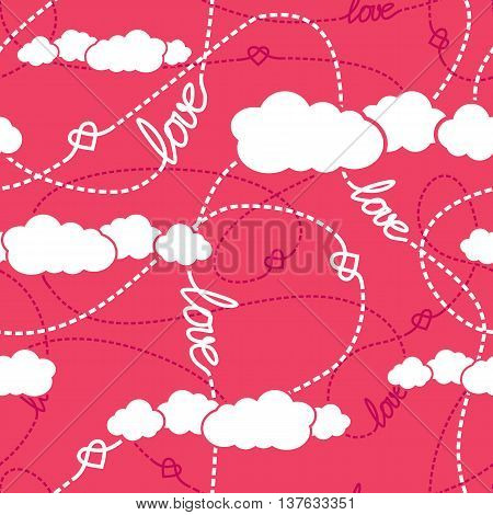 Vector seamless pattern with love words hearts tangled dashed lines and clouds. Repeating background for romantic design. Love conceptual texture. EPS8 vector illustration includes Pattern Swatch.