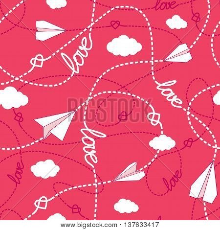 Vector seamless pattern with love words hearts tangled dashed lines clouds and paper planes. Repeating romantic background. Love conceptual texture. EPS8 vector includes Pattern Swatch.