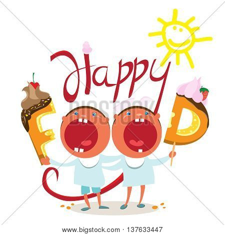 Funny kids want tasty food. the vector illustration