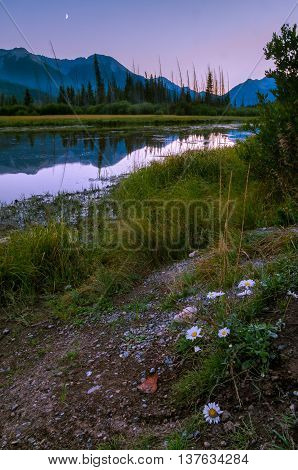 Moon rise at Vermillion Lakes near Banff Alberta