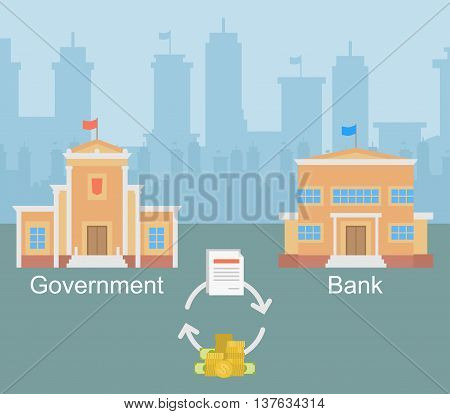 Vector clipart interaction of government authorities and the private bank