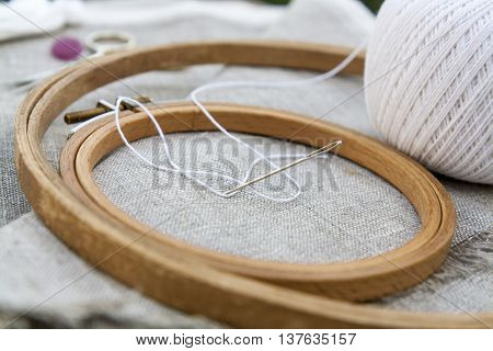Set For Embroidery, Garment Needle And Embroidery Hoop