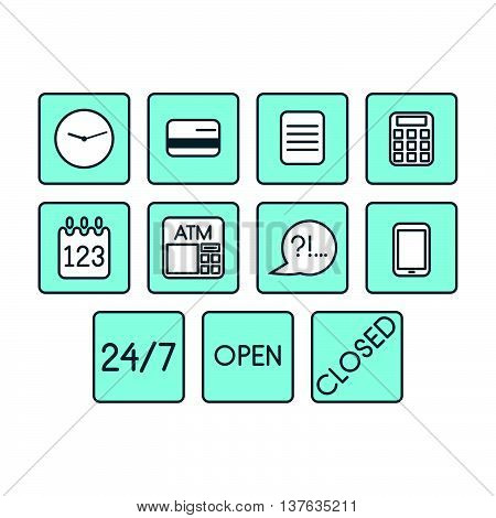 Vector set of business icons blue square symbols isolated
