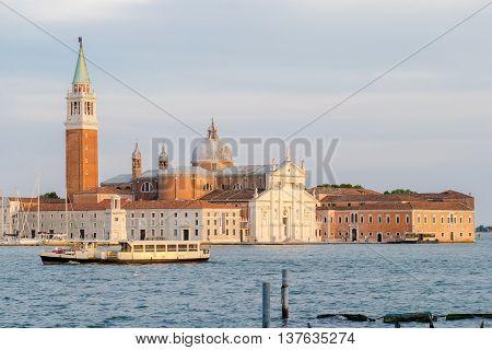 View of San Giorgio Maggiore church and island in Venice at sunset