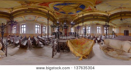 360 panorama of abandoned synagogue in Gherla, Romania, taken on September 11th, 2015.