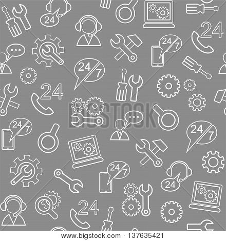 Technical support and repair, seamless grey background. Vector grey background with white line icons of tools for repair electronics and appliances. Color, flat.